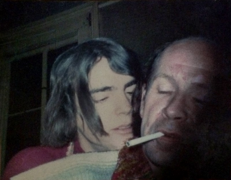 Up Stairs Lounge patrons Stewart Butler and Alfred Doolittle snuggle in an embrace, circa 1973. Minutes before the fatal fire, Alfred saved Stewart's life by insisting that they leave the Up Stairs Lounge for another bar. Photo courtesy of Stewart Butler (image supplied)