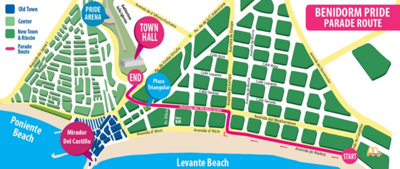The parade route for Benidorm Pride 2018 (image supplied)