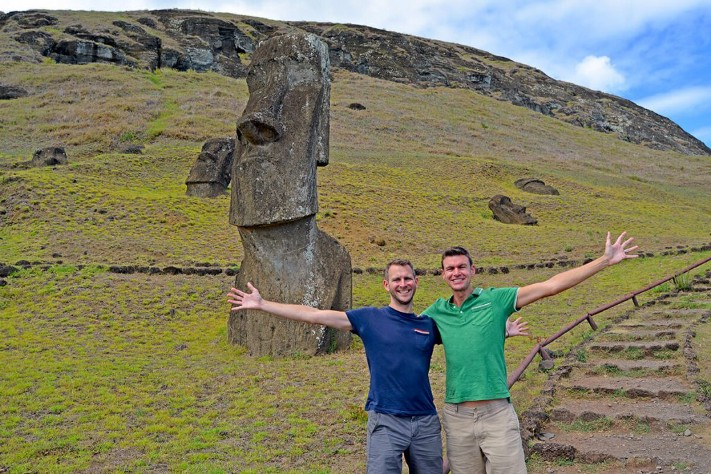 John and Scott on Easter Island (image supplied)