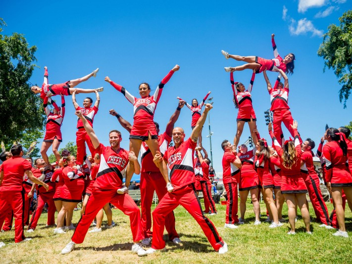 Cheer SF performing a pyramid at San Mateo County Fair on June 10, 2017. Image courtesy of Cheer SF