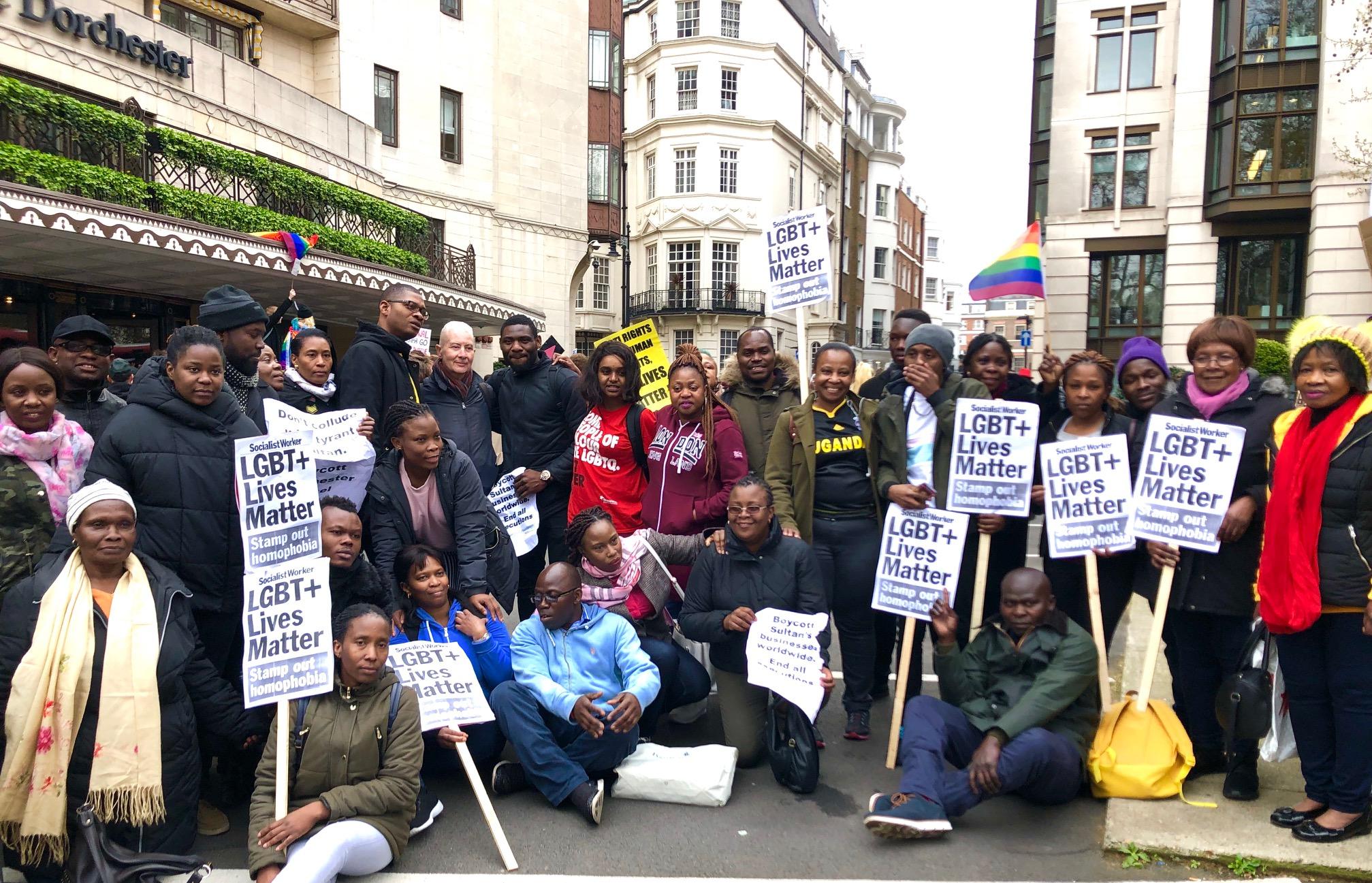 London protests against Brunei's anti-LGBTQ laws. Photo: Ash Kotak